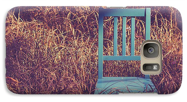 Blue Chair Out In A Field Of Talll Grass Galaxy S7 Case by Edward Fielding