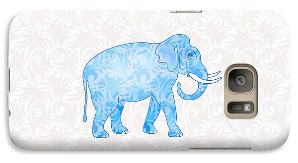 Blue Damask Elephant Galaxy Case by Antique Images