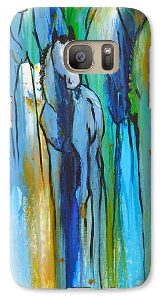 Galaxy Case featuring the painting Blue Drip 2 by Cher Devereaux