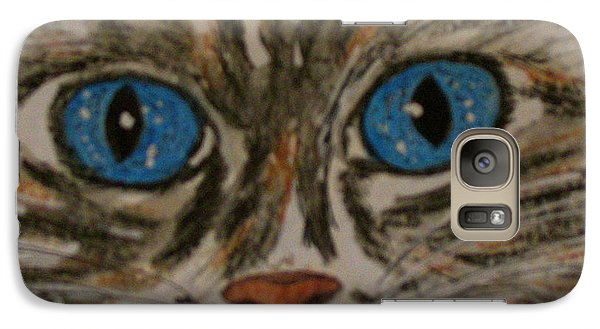 Galaxy Case featuring the painting Blue Eyed Tiger Cat by Kathy Marrs Chandler