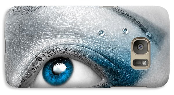 Colours Galaxy S7 Case - Blue Female Eye Macro With Artistic Make-up by Maxim Images Prints