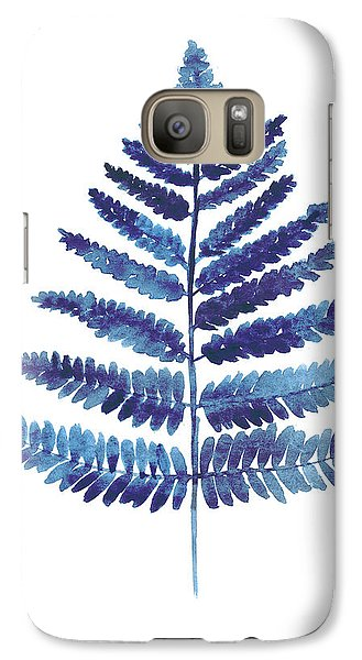 Garden Galaxy S7 Case - Blue Ferns Watercolor Art Print Painting by Joanna Szmerdt