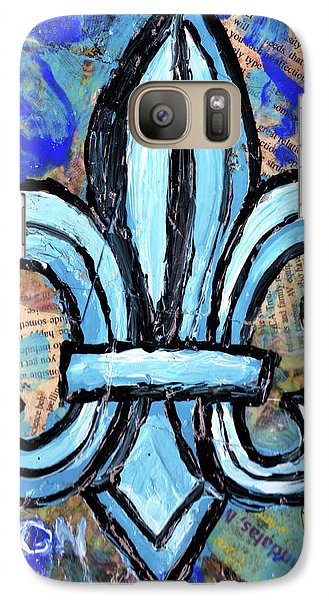 Galaxy Case featuring the mixed media Blue Fleur De Lis by Genevieve Esson
