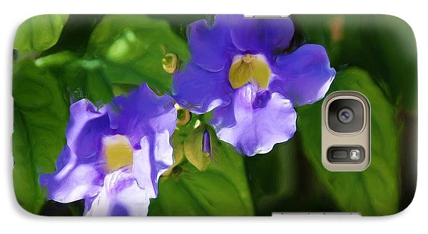 Galaxy Case featuring the painting Blue Flower by Jan Daniels