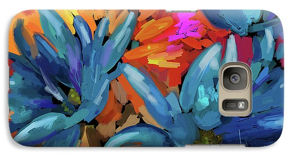 Galaxy Case featuring the painting Blue Flowers 2 by DC Langer