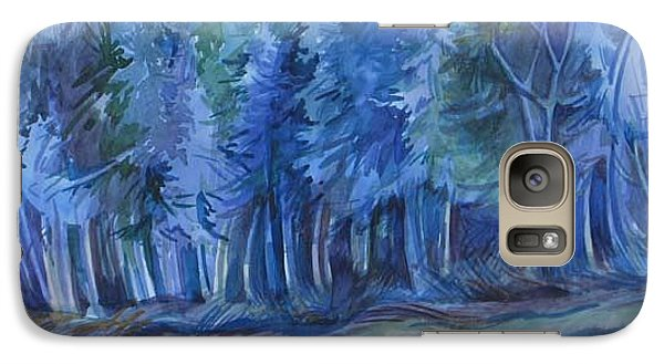 Galaxy Case featuring the painting Blue Forest by Anna  Duyunova