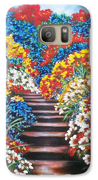 Galaxy Case featuring the painting Blue Garden Cascade by Sigrid Tune