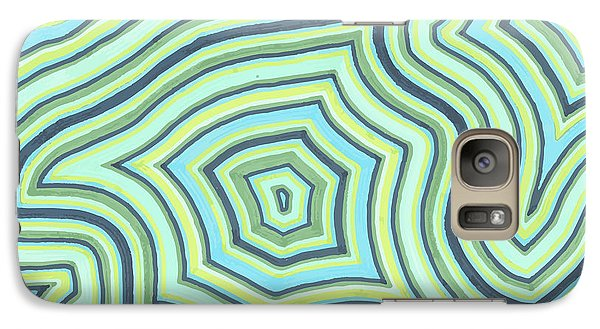 Galaxy Case featuring the drawing Blue Green Pattern Play by Jill Lenzmeier