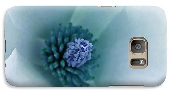Galaxy Case featuring the photograph Abstract Blue Green White Flowers Macro Photography Art Work by Artecco Fine Art Photography