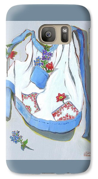 Galaxy Case featuring the painting Blue Handkerchief Apron by Susan Thomas