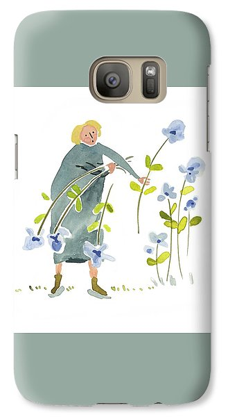Galaxy Case featuring the painting Blue Harvest by Leanne WILKES