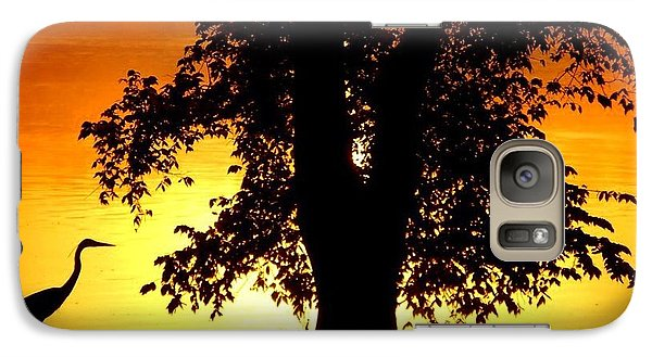 Galaxy Case featuring the photograph Blue Heron At Sunrise by Sumoflam Photography