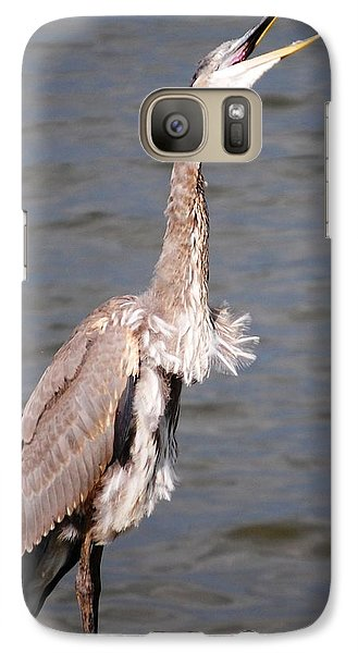 Galaxy Case featuring the photograph Blue Heron Calling by Sumoflam Photography