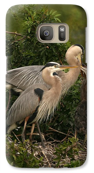 Galaxy Case featuring the photograph Blue Heron Family by Shari Jardina