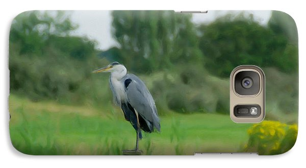 Galaxy Case featuring the painting Blue Heron by Jan Daniels