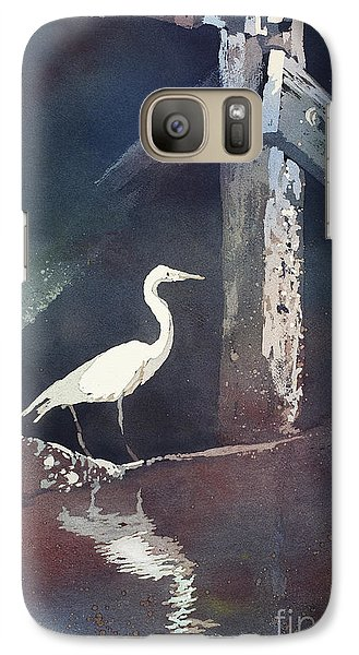 Galaxy Case featuring the painting Blue Heron- Outer Banks by Ryan Fox
