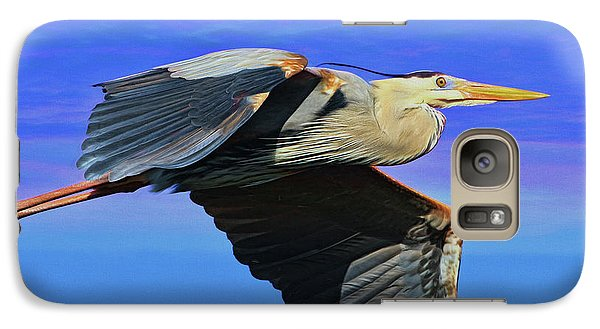 Galaxy Case featuring the painting Blue Heron Series Fly by Deborah Benoit