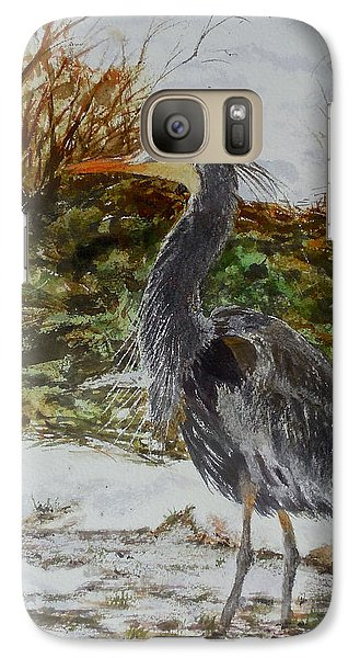 Galaxy Case featuring the painting Blue Heron by Sher Nasser