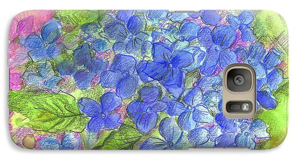 Galaxy Case featuring the painting Blue Hydrangea by Cathie Richardson