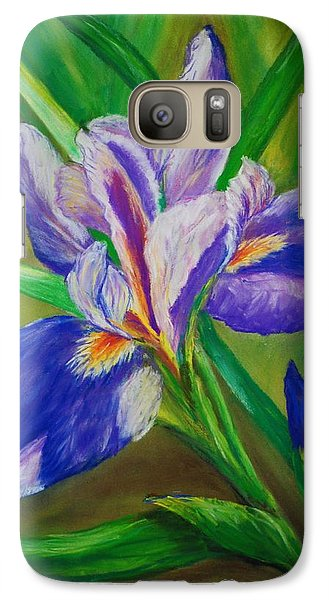 Galaxy Case featuring the painting Blue Iris by Debbie Baker