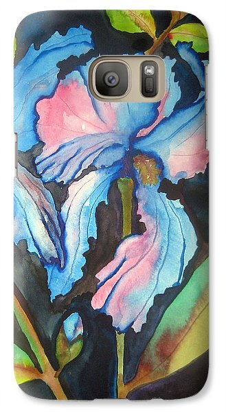 Galaxy Case featuring the painting Blue Iris by Lil Taylor