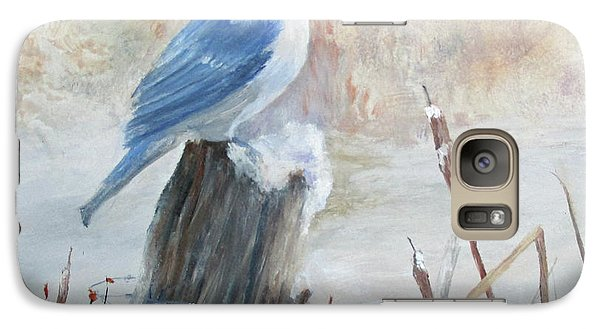 Galaxy Case featuring the painting Blue Jay In Winter by Roseann Gilmore