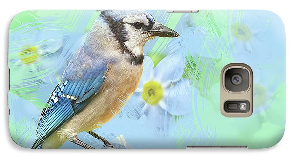 Galaxy Case featuring the photograph Blue Jay Watercolor Photo by Heidi Hermes