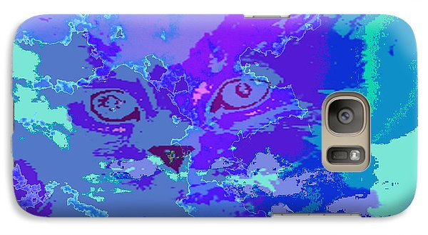 Galaxy Case featuring the digital art Blue Kitty by Lola Connelly