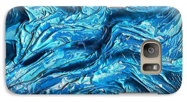 Galaxy Case featuring the mixed media Blue Marble by Angela Stout