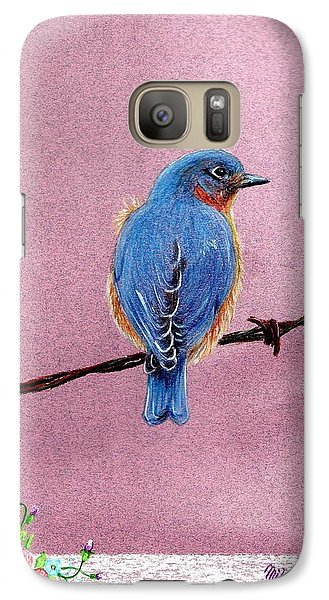 Galaxy Case featuring the drawing Blue by Mike Ivey