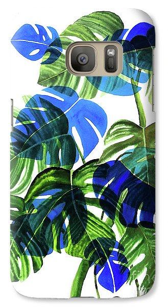 Blue Monstera Galaxy S7 Case by Ana Martinez
