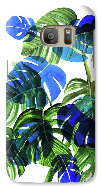 Blue Monstera Galaxy S7 Case by Ana Martinez