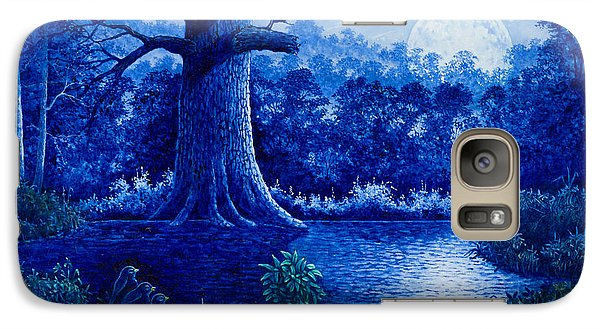 Galaxy Case featuring the painting Blue Moon by Michael Frank
