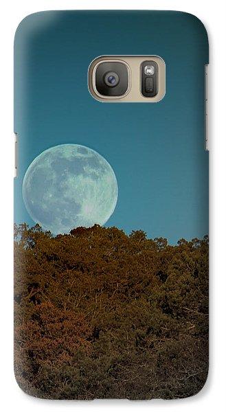 Galaxy Case featuring the photograph Blue Moon Risign by Karen Musick