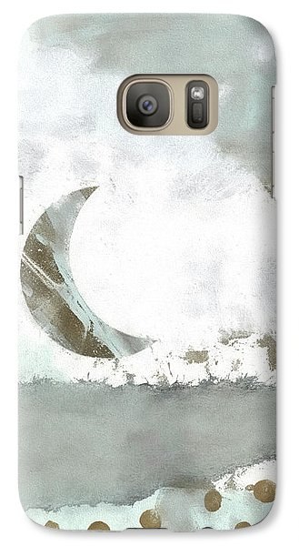 Galaxy Case featuring the mixed media Blue Moonset Monoprint Collage by Carol Leigh