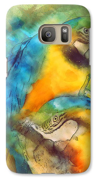 Blue N Gold Macaws Galaxy S7 Case by Methune Hively