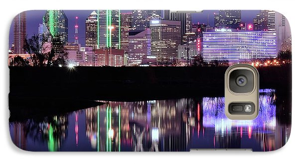 Galaxy Case featuring the photograph Blue Night And Reflections In Dallas by Frozen in Time Fine Art Photography
