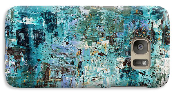 Galaxy Case featuring the painting Blue Ocean - Abstract Art by Carmen Guedez