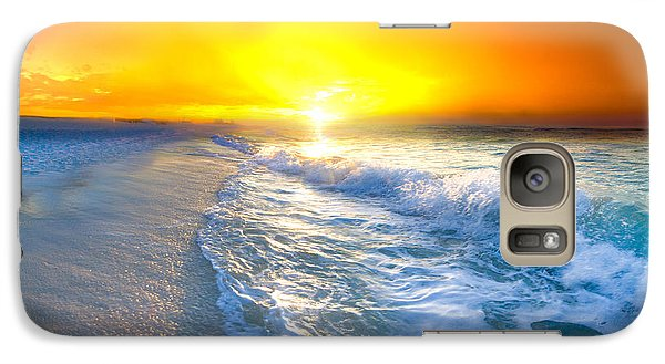 Galaxy Case featuring the photograph Blue Ocean Landscape Wave Photography Red Surise by Eszra Tanner