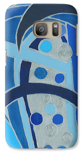 Galaxy Case featuring the painting Blue On Silver by Ania M Milo