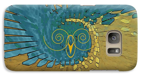 Galaxy Case featuring the digital art Abstract Blue Owl by Ben and Raisa Gertsberg