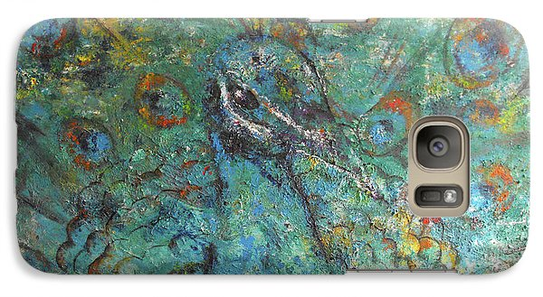 Galaxy Case featuring the painting Blue Peacock by Koro Arandia