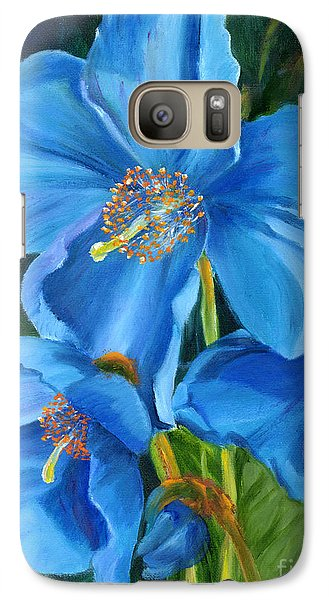 Galaxy Case featuring the painting Blue Poppy by Renate Nadi Wesley
