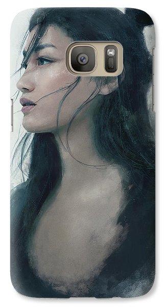 Blue Portrait Galaxy S7 Case by Eve Ventrue
