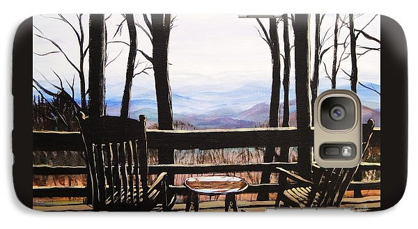 Galaxy Case featuring the painting Blue Ridge Mountain Porch View by Patricia L Davidson