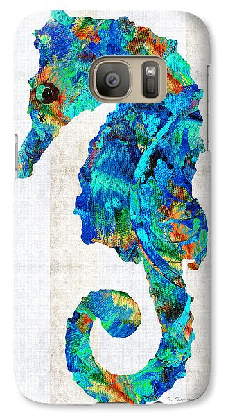 Blue Seahorse Art By Sharon Cummings Galaxy Case by Sharon Cummings