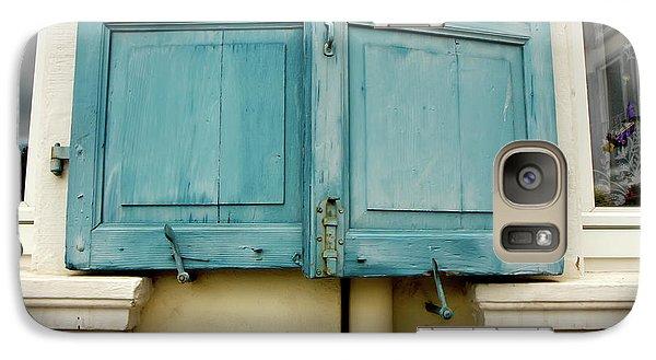 Galaxy Case featuring the photograph Blue Shutters Rudesheim by KG Thienemann