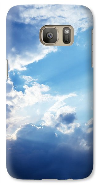 Blue Sky And Clouds With Sun Light Galaxy Case by Jozef Klopacka