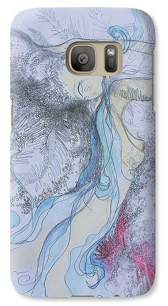 Galaxy Case featuring the drawing Blue Smoke And Mirrors by Marat Essex