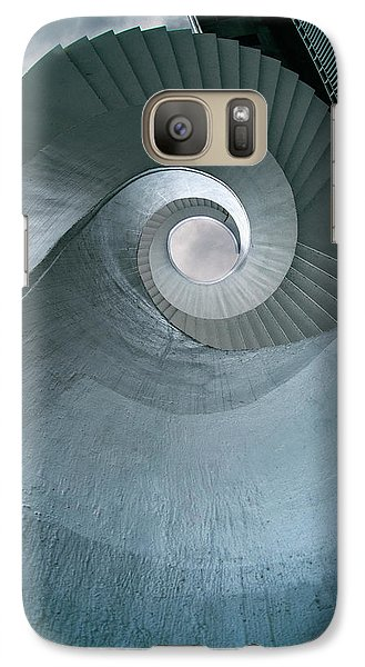 Galaxy Case featuring the photograph Blue Spiral Stairs by Jaroslaw Blaminsky